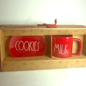 Rae Dunn RED MILK /& COOKIES Boxed Set New 2019 Christmas Holiday